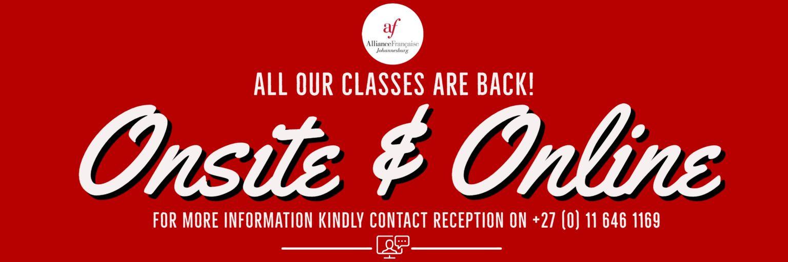 CLASSES ONLINE & ONSITE